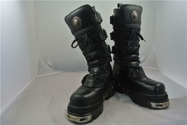 NEW ROCK BLACK HIGH LEG BOOTS REACTOR GOTH SIZE 7 UK