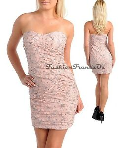 Pink-Silver-Cocktail-Evening-Prom-Formal-Wedding-Strapless-Dress-sz-8-amp-10