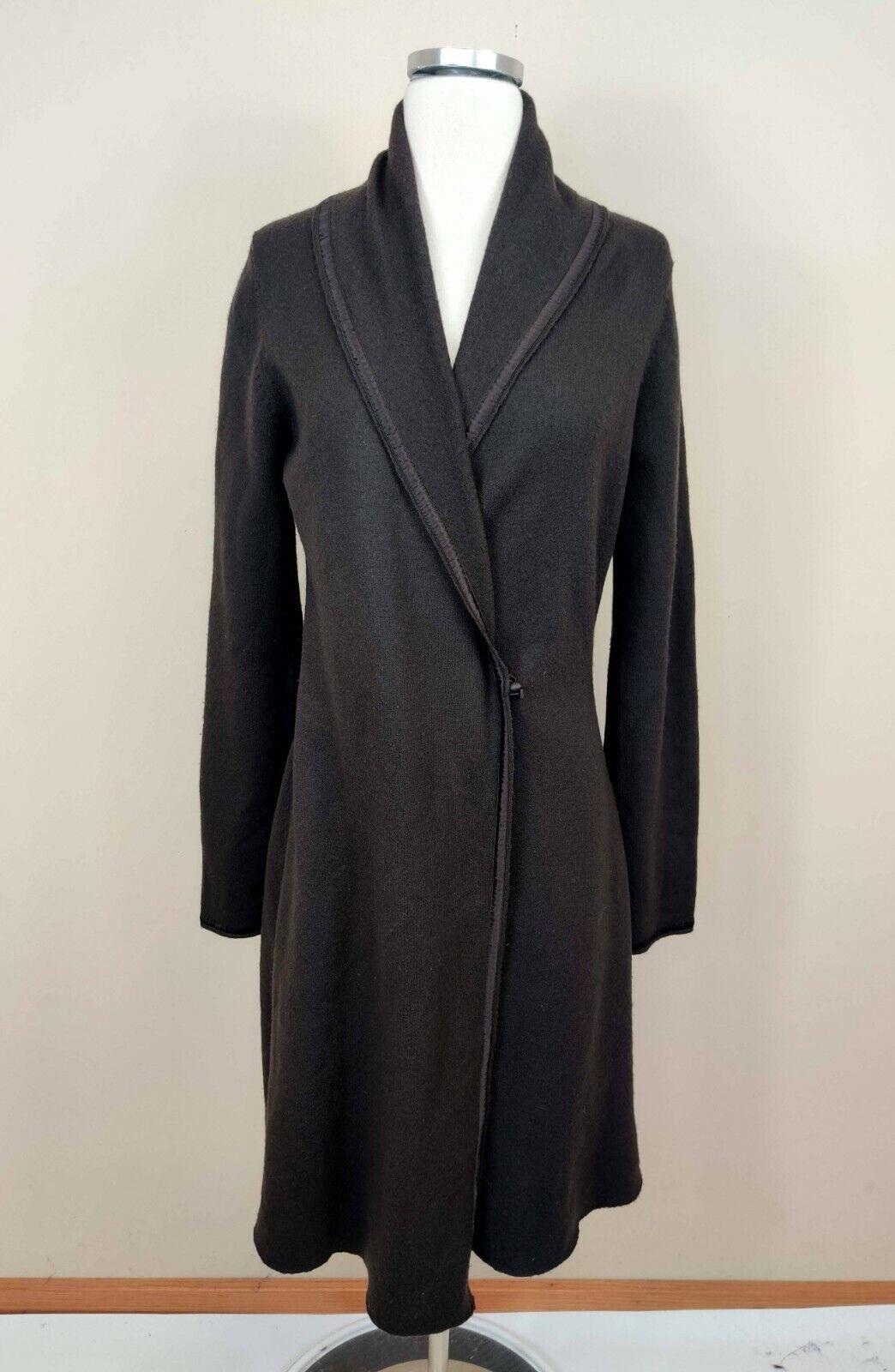 Nougat London 100% Wool Wrap Maxi Cardigan Sweater Duster Silk Trim 4 Womens