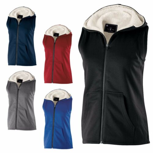 HOODIE VEST HEATHERED SHERPA LINED XS-2XL ZIP UP LADIES SLEEVELESS POCKETS