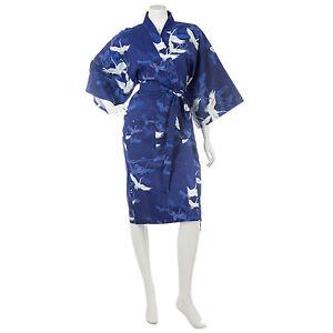 Blu Navy Giapponese Corto Crane Kimono Cotone H1HwqOU