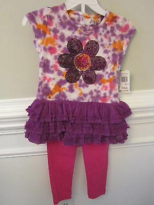 Girls Flapdoodles $42 2pc Blue Tie-Dyed Shirt w// Leggings Size 4-6X