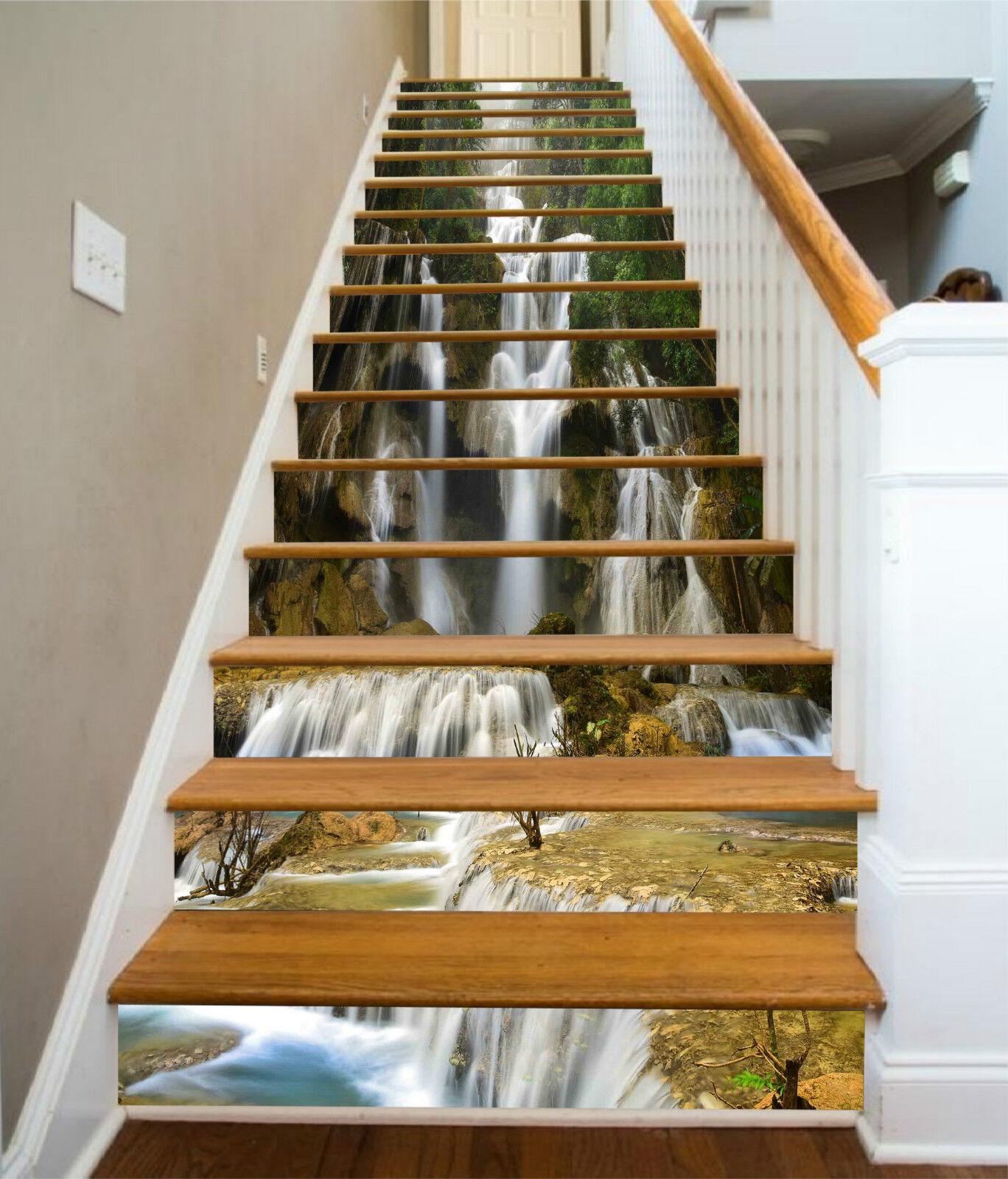 3D Wasserfall 343 Stair Risers Dekoration Fototapete Vinyl Aufkleber Tapete DE