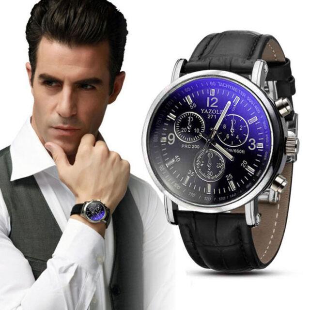 Luxury Men's Date Stainless Steel Quartz Leather Strap Band Wrist Watch Watches