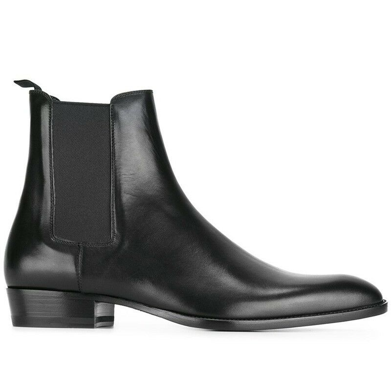 Mens Genuine Leather Chelsea boots Elastic Pull On shoes British Ankle Boots sz