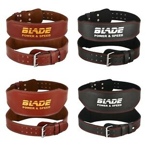 Blade-4-034-6-034-Gym-Weight-Lifting-Belt-Leather-Training-Fitness-Power-Back-Support