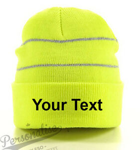 Image is loading Personalised-Hi-Viz-Knitted-Beanie-Woolly-Winter-Hat- 7fdea3b564a2