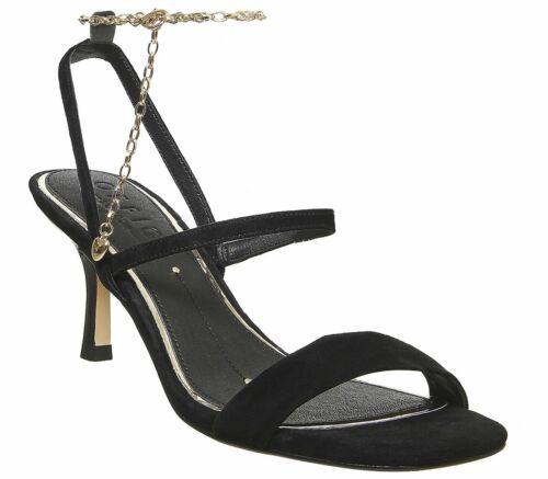 Womens Office Merry Go Round Heels With Ankle Chain Black Suede Heels