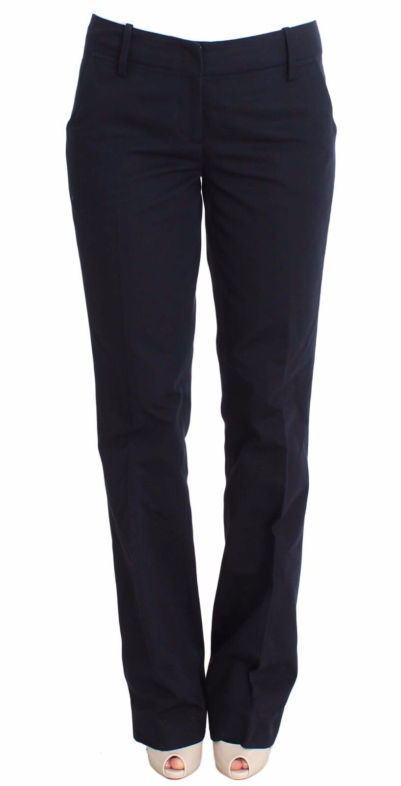 Nuova con Etichetta Ermanno Scervino Pantaloni Cotone Blau Vestito di Seta