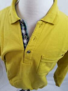 VTG-Etienne-Aigner-Mens-Plaid-Trim-L-XL-Mustard-Yellow-Polo-Shirt-Rugby-Sweater