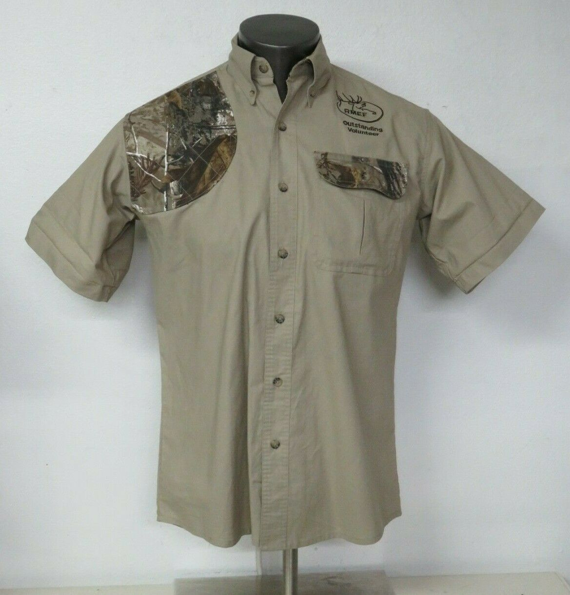 Mens Bob Allen Size S Hunting Shooting SHIRT Shoulder Elbow Camo Short Sleeve
