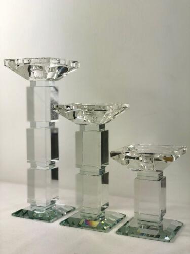 3er Set Kristall Kerzenständer Kerzenhalter Kerzenleuchter Leuchter Kristall Neu