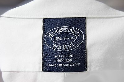 Brooks Brothers 16.5/34-35 Gentleman's White Non-Iron Cotton French Cuff Shirt