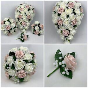Bouquet Sposa Rose Rosa.Nozze Fiori Rose Rosa Bouquet Sposa Occhiello Bacchetta Gypsophila