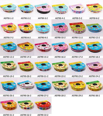 Roll Cute Cartoon Deco Scrapbooking Washi Tape Adhesive Sticker 15mm Craft A0790