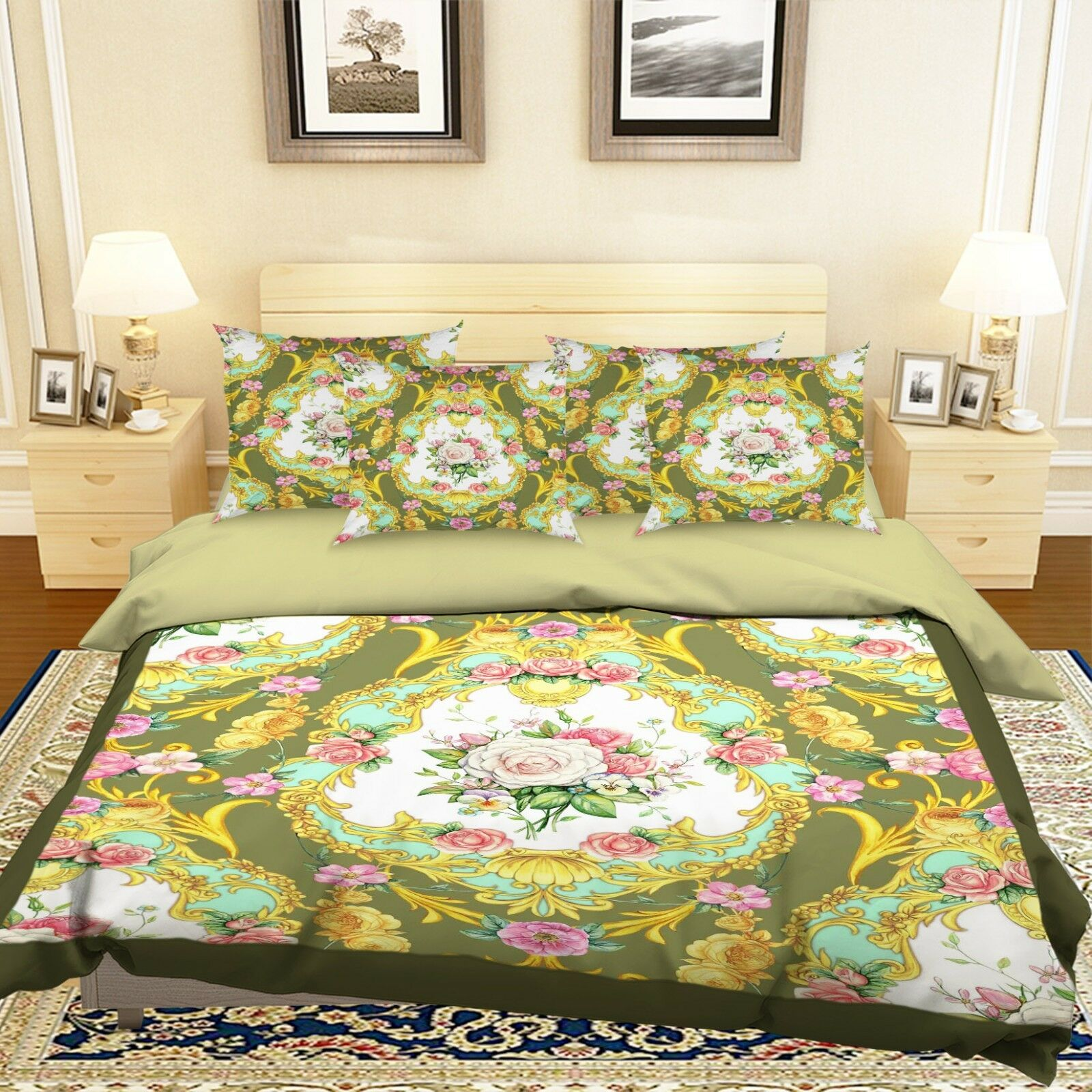 3D Flowers 1061 Bett Pillowcases Quilt Duvet Startseite Set Single Königin König Größe AU