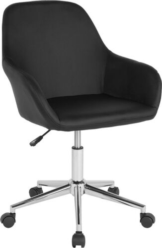 Comfortable Modern Home Office Task Chair with Black Leathersoft