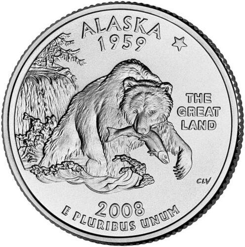 "Statehood Quarter Uncirculated Roll of 40 /"" D /"" Mint #49 2008 Alaska AK"