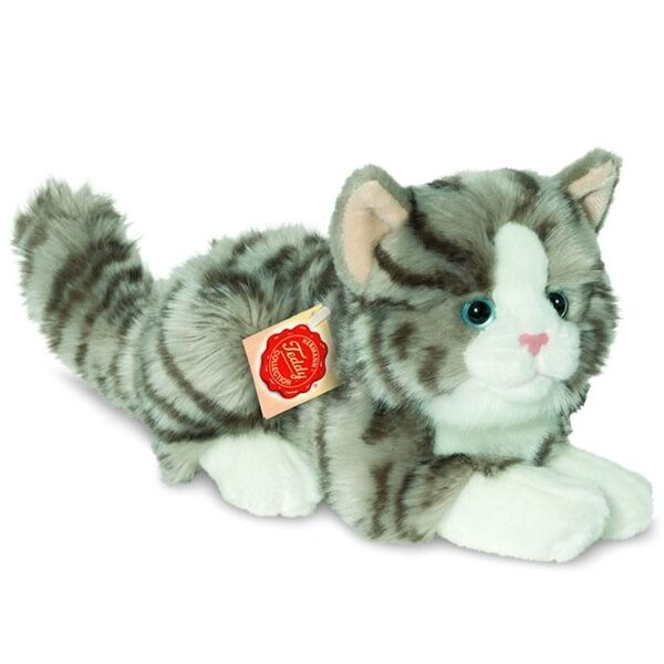 BRAND NEW PLUSH SOFT TOY Grey Cat Lying 20cm   8  Inches - HERMANN Teddy Colle