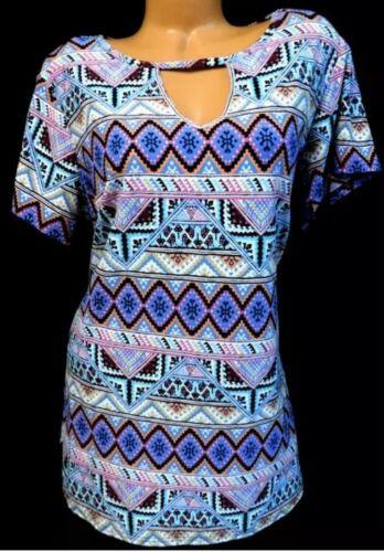 Tribal print rayon Bobbie Brooks button front shirt vintage 90s medium large