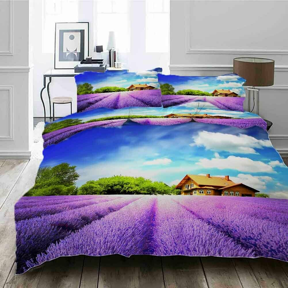 Big Slice Lavender 3D Druckening Duvet Quilt Will Startseites Pillow Case Bettding Sets