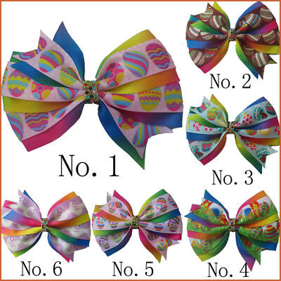 "50 BLESSING Girl 4.5/"" Two Tone Angel Hair Bow Clip Rainbow Unicorn Pony Hairbow"