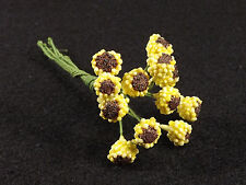 Vintage Floral Beaded Stamens Millinery 12 Single Stems Yellow Brown Center