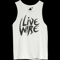 Thrills Co Live Wire Muscle Tank Top T Shirt White Womens Size Ac-dc Heavy Metal