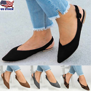 Women-039-s-Pointed-Toe-Ballet-Flats-Slip-On-Suede-Shoes-Stiletto-Slingback-Loafers