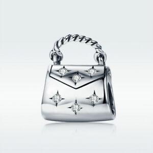 Fashion-Handbag-925-Sterling-Silver-Bead-CZ-Charm-For-Bracelet-Necklace-Jewelry