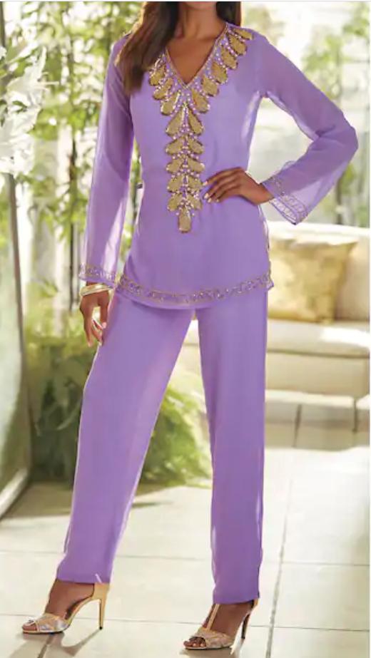 Ashro Lavender Purple Gold Beaded Dress Neri Pant Set Party S M L XL 1X 2X 3X