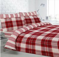 Printed Red Check Flannelette Warm Brushed Cotton Duvet Cover & Pillowcase Set