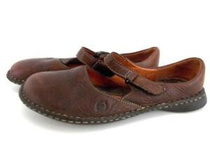 BORN-Brown-Pebbled-Leather-Flats-Mary-Jane-Comfort-Shoes-Women-039-s-6-EU-36-5
