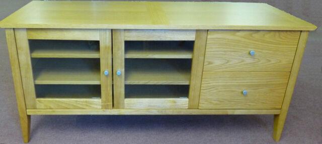 New Montreal Large Oak TV Unit Plasma Stand Dvd Sky Box Cabinet 2 Drawer Shelves