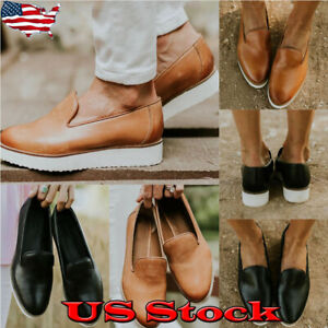 Hot-Womens-Casual-Slip-On-Loafers-Round-Toe-Walking-Comfort-Shoes-Solid-Flats
