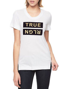 TRUE RELIGION Womens T-Shirt METALLIC GOLD PRINT Casual Designer  68 ... 74906f4d68
