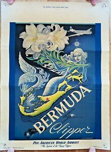 RARE-1949-ORIGINAL-PAN-AMERICAN-WORLD-AIRWAYS-BERMUDA-BY-CLIPPER-TRAVEL-POSTER