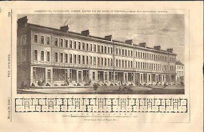 London Vauxhall Row 2 Prints Available In Various Designs And Specifications For Your Selection 1856 Antique Architecture Print- Lodging Houses