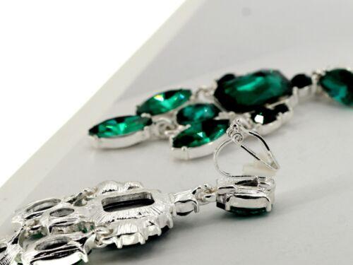 Boucles d/'Oreilles CLIP ON Chandelier Art Deco Cristal Vert Emeraude Mariage QD4