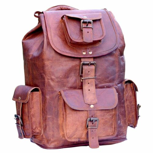 "17/"" New Large Genuine Leather Backpack Rucksack Travel Bag For Men/'s and Women/'s"