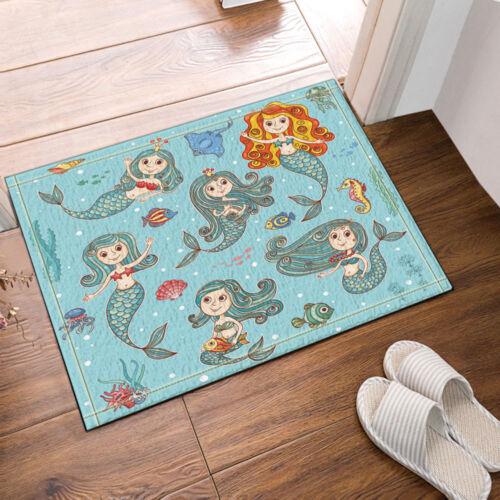 Happy Mermaids Kids Non-Slip Floor Entryways Outdoor Indoor Front Door Mat