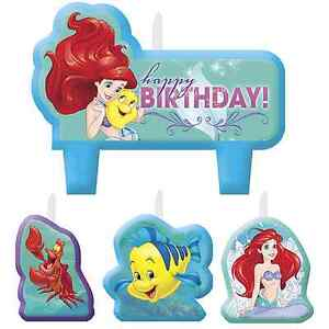 Disney Ariel Little Mermaid Cake Topper 4 Candles Set Birthday Party