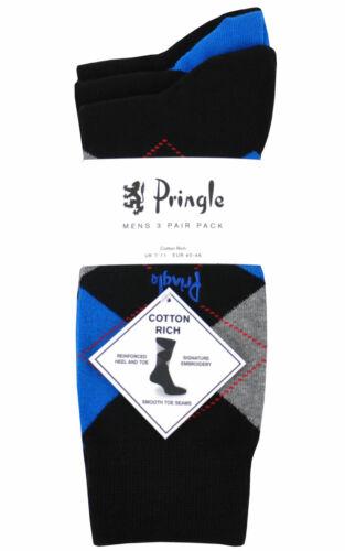 Mens Pringle 3 Pack Socks Waverley Argyle FAS L4100 Black