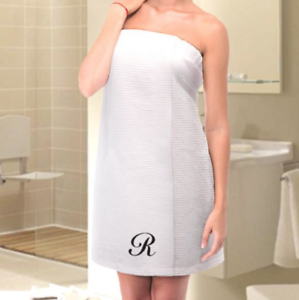 Image is loading Personalized-Waffle-Bath-Wrap-Towel-One-Initial 9e571170a