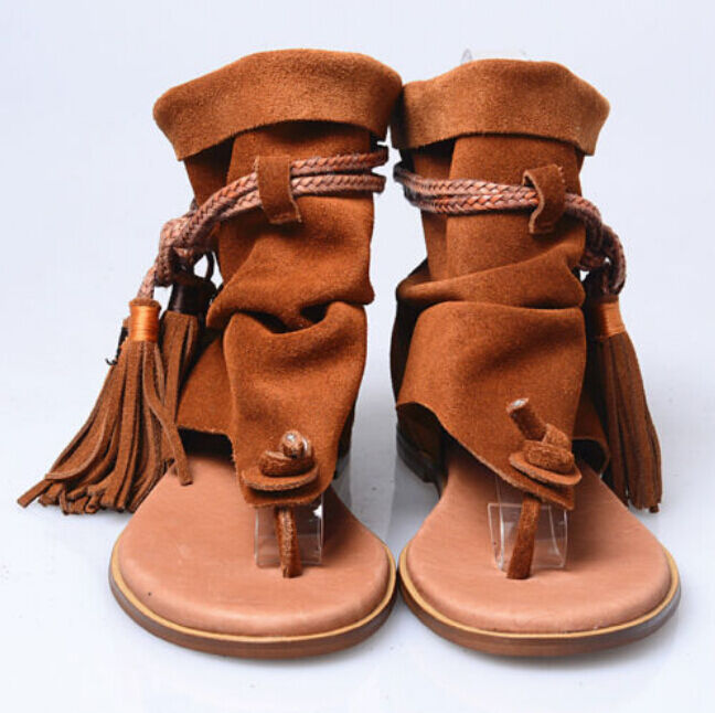Bohemia Mujeres Sandalias Tacones Tacones Tacones Planos Borlas Flecos Ojotas botas Zapatos De Gamuza Caliente  nuevo listado