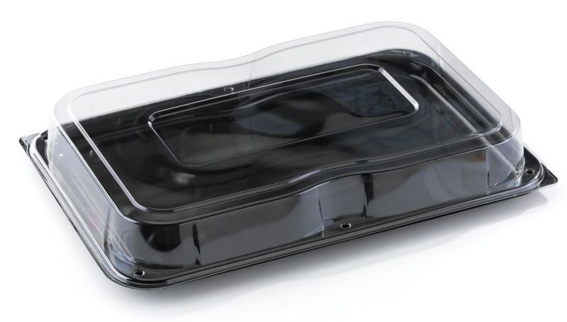 15 x SABERT Large Plastique Noir Rectangle Serving Buffet Plateaux + Couvercles 55x37cm
