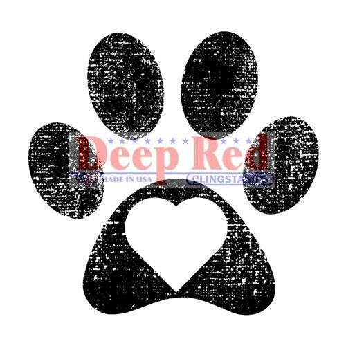 Deep Red Stamps Pawprint Rubber Cling Stamp