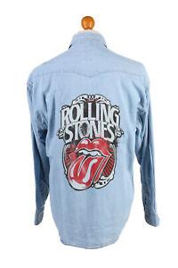 Rolling-Stones-Lips-Printed-Unisex-Denim-Shirt-Long-Sleeve-Reworked-M-SH3984