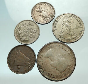 GROUP-LOT-of-5-Old-SILVER-Europe-or-Other-WORLD-Coins-for-your-COLLECTION-i75692