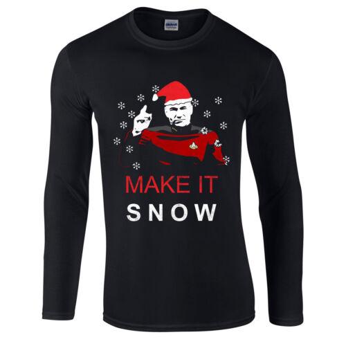 Make It Snow Xmas Festive Adult Longsleev Top Star Trek Christmas T-Shirt
